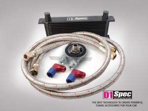 Ölkühler Set 15 Reihen schwarz mit Thermostat M20 Gewinde