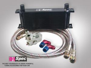 Ölkühler Set 15 Reihen schwarz mit M22 Gewinde Thermostat und Geberabgriffe