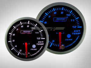 Abgastemperatur Anzeige Racing Premium Serie Blau/ Weiss 52mm