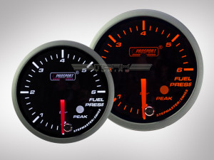 Benzindruck Racing Premium Serie Orange/ Weiss Prosport 60mm