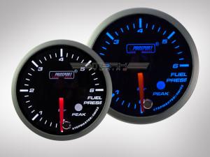 Benzindruck Anzeige Racing Premium Serie Blau/Weiss 60mm