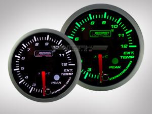 Abgastemperatur Anzeige Racing Premium Serie Grün/ Weiss 52mm