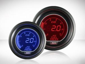 Benzindruckanzeige elektrisch Rot/ Blau EVO Serie 52mm