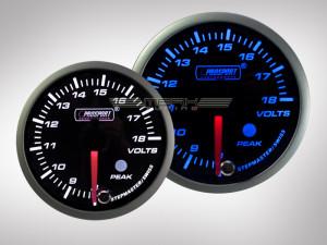 Voltanzeige Racing Premium Serie Blau/Weiss 60mm