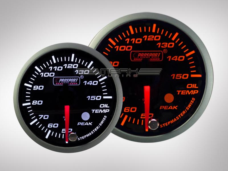 Öltemperatur Premium Serie Orange/ Weiss Prosport 60mm   merx-tuning.de